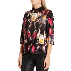 TED BAKER Sameey Pleated Petals Print Top